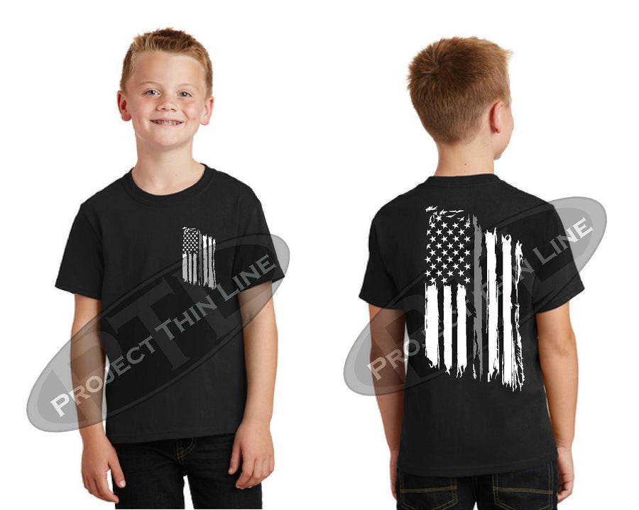 Kids Thin Silver Line US Tattered Flag Short Sleeve T-Shirt