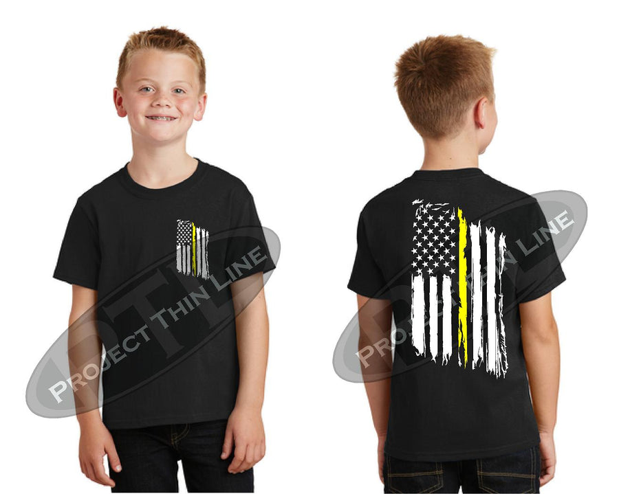 Kids Thin YELLOW Line US Tattered Flag Short Sleeve T-Shirt
