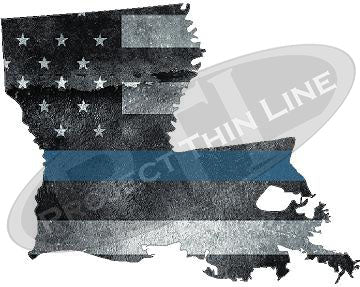 "5"" Louisiana LA Tattered Thin Blue Line State Sticker Decal"