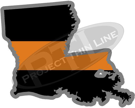 "5"" Louisiana LA Thin Orange Line Black State Shape Sticker"