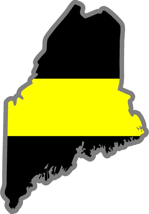 "5"" Maine ME Thin Yellow Line Black State Shape Sticker"