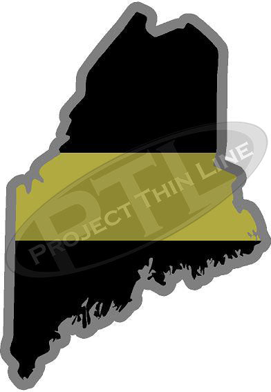"5"" Maine ME Thin Gold Line State Sticker Decal"