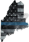 "5"" Maine ME Tattered Thin Blue Line State Sticker Decal"
