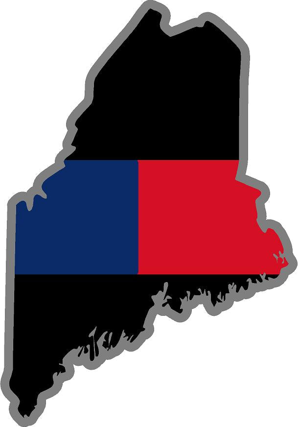 "5"" Maine ME Thin Blue / Red Line Black State Shape Sticker"