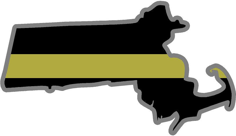 "5"" Massachusetts MA Thin Gold Line State Sticker Decal"