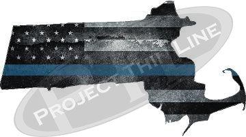 "5"" Massachusetts MA Tattered Thin Blue Line State Sticker Decal"