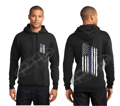 Black Thin BLUE Line Tattered American Flag Hooded Sweatshirt