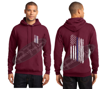 Maroon Thin BLUE Line Tattered American Flag Hooded Sweatshirt