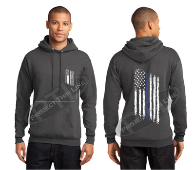 Charcoal Thin BLUE Line Tattered American Flag Hooded Sweatshirt