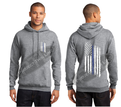 Ash Grey Thin BLUE Line Tattered American Flag Hooded Sweatshirt