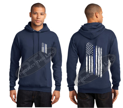 Navy Thin BLUE Line Tattered American Flag Hooded Sweatshirt