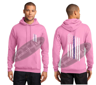 Pink Thin BLUE Line Tattered American Flag Hooded Sweatshirt