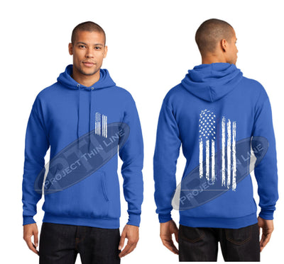 Royal Thin BLUE Line Tattered American Flag Hooded Sweatshirt