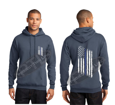 Steel Blue Thin BLUE Line Tattered American Flag Hooded Sweatshirt