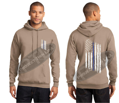 Khaki Thin BLUE Line Tattered American Flag Hooded Sweatshirt