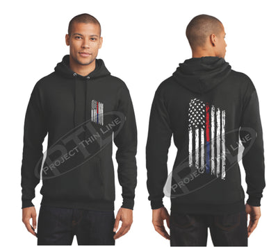 Black Thin BLUE / Red Line Tattered American Flag Hooded Sweatshirt
