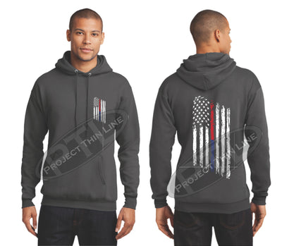 Charcoal Thin BLUE / Red Line Tattered American Flag Hooded Sweatshirt