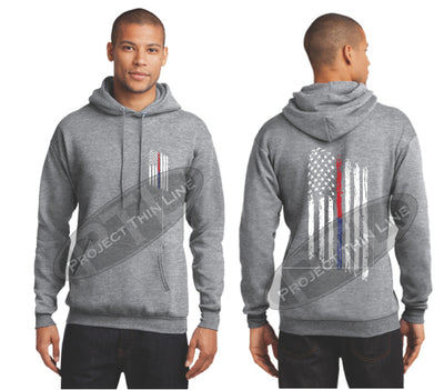 Grey Thin BLUE / Red Line Tattered American Flag Hooded Sweatshirt