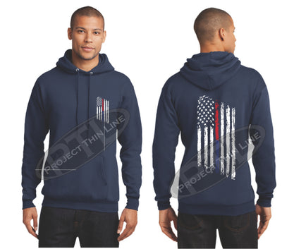 Navy Thin BLUE / Red Line Tattered American Flag Hooded Sweatshirt