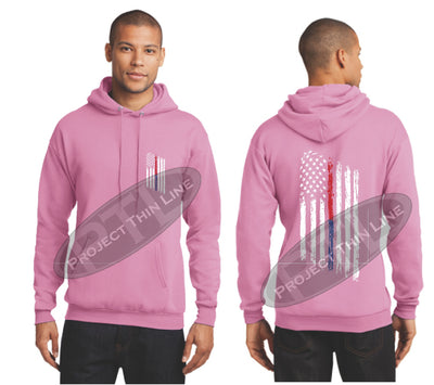 Pink Thin BLUE / Red Line Tattered American Flag Hooded Sweatshirt