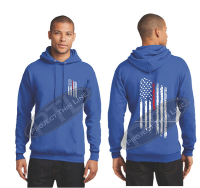 Royal Thin BLUE / Red Line Tattered American Flag Hooded Sweatshirt