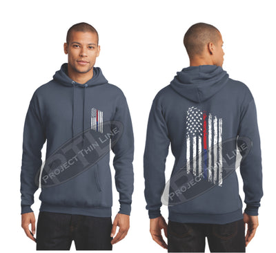Steel Blue Thin BLUE / Red Line Tattered American Flag Hooded Sweatshirt