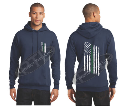 Navy Thin Green Line Tattered American Flag Hooded Sweatshirt