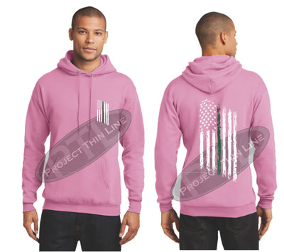 Pink Thin Green Line Tattered American Flag Hooded Sweatshirt