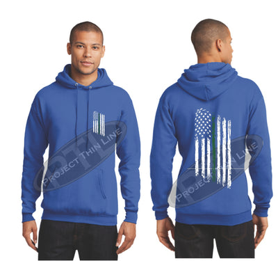 Royal Thin Green Line Tattered American Flag Hooded Sweatshirt