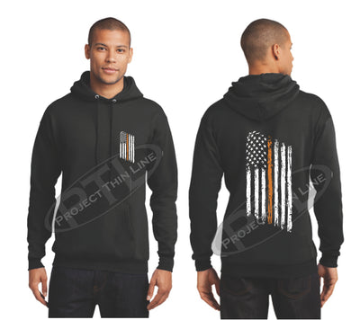 Black Thin ORANGE  Line Tattered American Flag Hooded Sweatshirt