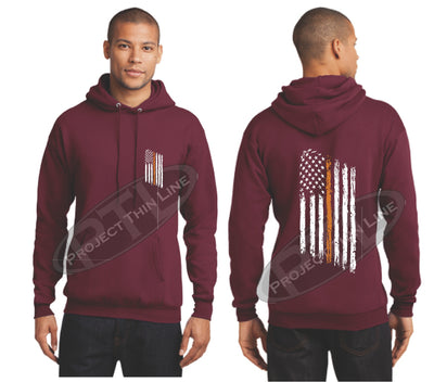 Maroon Thin ORANGE  Line Tattered American Flag Hooded Sweatshirt