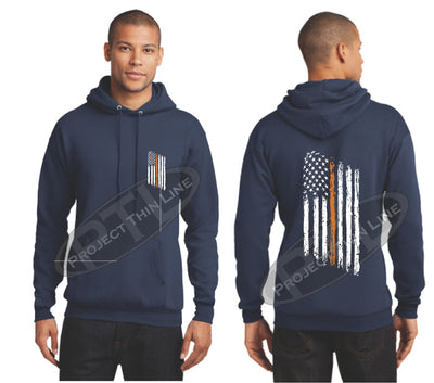 Navy Thin ORANGE  Line Tattered American Flag Hooded Sweatshirt