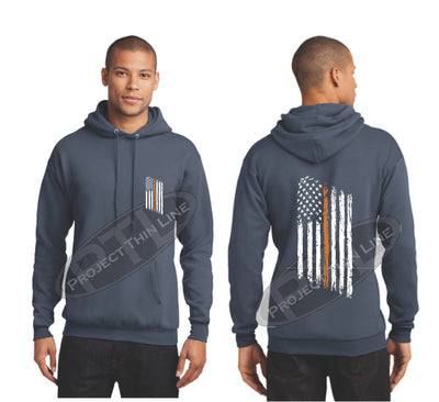 Steel Blue Thin ORANGE  Line Tattered American Flag Hooded Sweatshirt