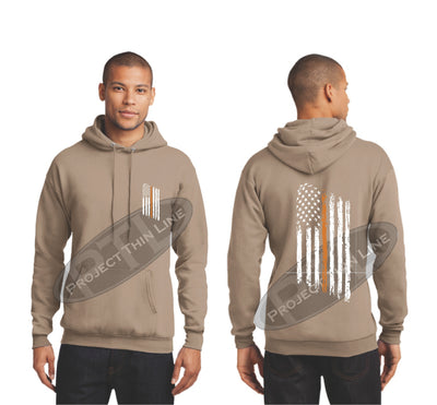 khaki Thin ORANGE  Line Tattered American Flag Hooded Sweatshirt