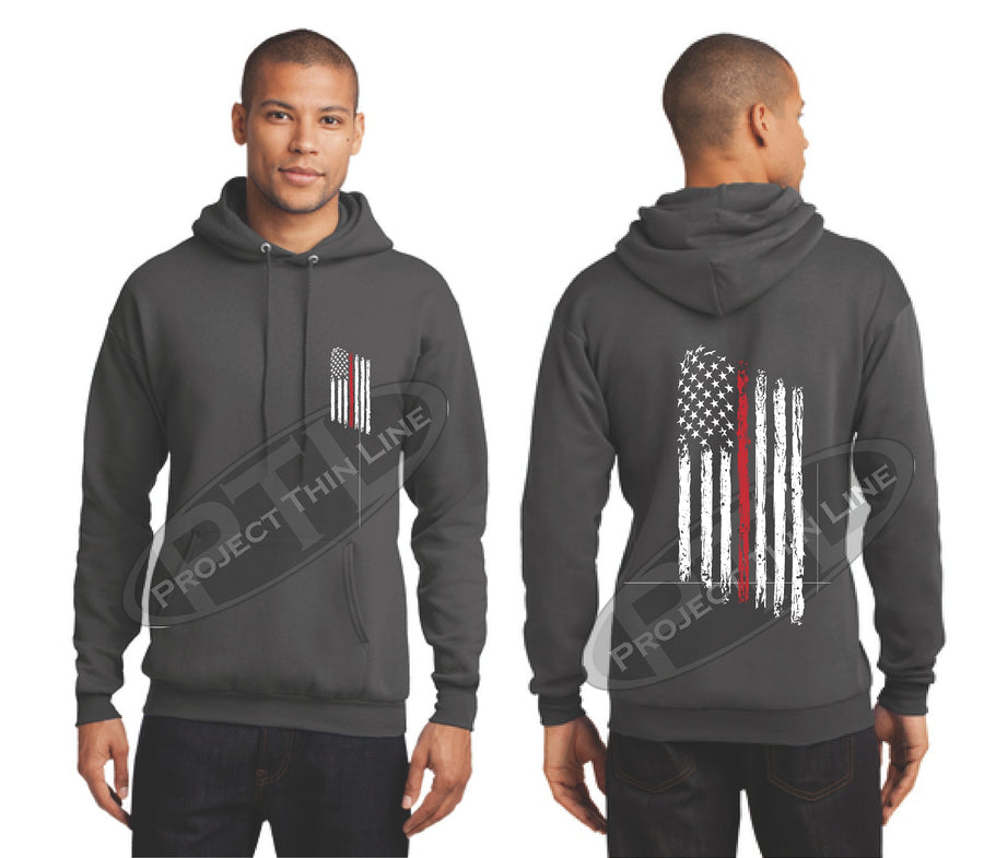 Black Thin RED Line Tattered American Flag Hooded Sweatshirt