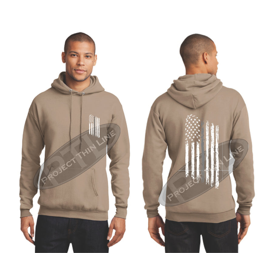 Black Thin SILVER Line Tattered American Flag Hooded Sweatshirt