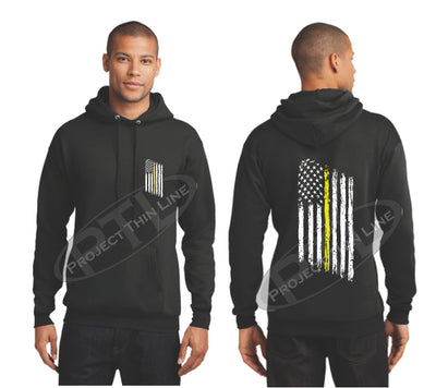 Black Thin Yellow Line Tattered American Flag Hooded Sweatshirt