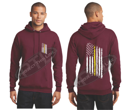 Maroon Thin Yellow Line Tattered American Flag Hooded Sweatshirt