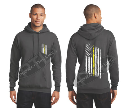 Charcoal Thin Yellow Line Tattered American Flag Hooded Sweatshirt