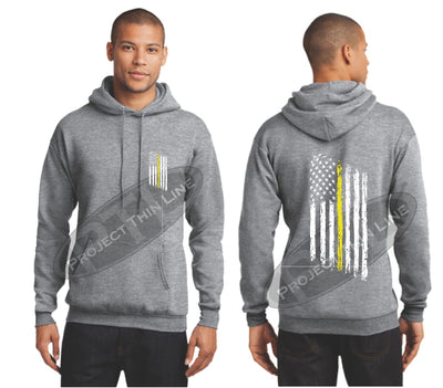 Ash Grey Thin Yellow Line Tattered American Flag Hooded Sweatshirt