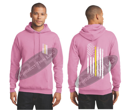 Pink Thin Yellow Line Tattered American Flag Hooded Sweatshirt