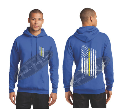 Royal Thin Yellow Line Tattered American Flag Hooded Sweatshirt
