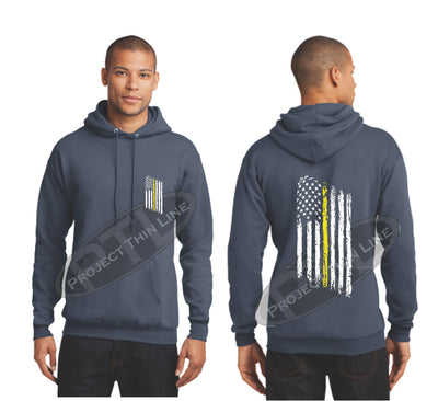 Steel Blue Thin Yellow Line Tattered American Flag Hooded Sweatshirt