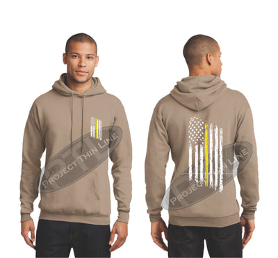 Khaki Thin Yellow Line Tattered American Flag Hooded Sweatshirt