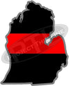 "5"" Michigan MI Thin Red Line State Sticker Decal"