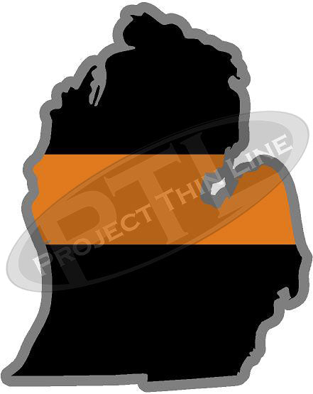 "5"" Michigan MI Thin Orange Line Black State Shape Sticker"