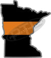 "5"" Minnesota MN Thin Orange Line Black State Shape Sticker"
