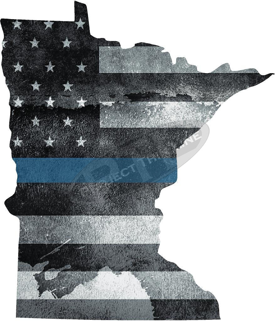 "5"" Minnesota MN Tattered Thin Blue Line State Sticker Decal"