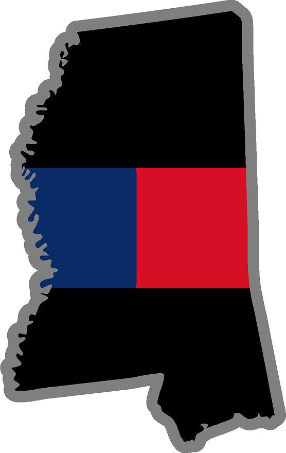 "5"" Mississippi MS Thin Blue / Red Line Black State Shape Sticker"