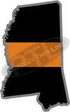 "5"" Mississippi MS Thin Orange Line Black State Shape Sticker"